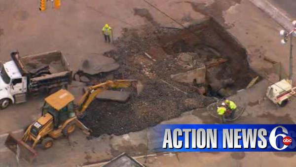 Repairs on massive Trenton sinkhole continue