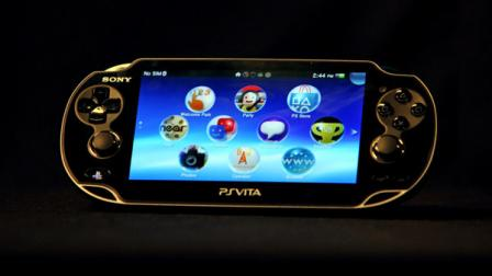 This Feb. 15, 2012 photo, shows the front view of a Playstation Vita, Sonys new high-powered handheld console with a rear touchpad.