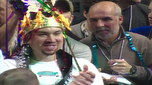 Super Squibb enjoying his 3rd consecutive victory in Philadelphia's Wing Bowl
