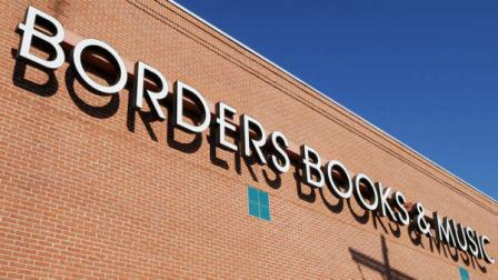 FILE - In this file photo made March 31, 2009, a Borders Books & Music sign is displayed at the bookstore in Peabody, Mass.