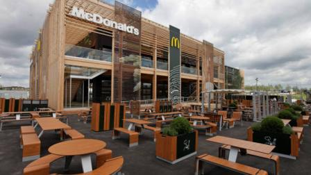 A view of the newly constructed McDonalds restaurant at the Olympic Park in east London, Monday, June 25, 2012. The restaurant is designed to be reusable and recyclable after the London 2012 Olympic and Paralympic Games. (AP Photo/Lefteris Pitarakis)