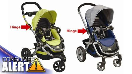 A child or consumers finger can become caught in the opening formed when locking and unlocking the hinge mechanism which is used to adjust the handlebars on the strollers. This presents an amputation and laceration hazard to children and the adults handling the stroller.
