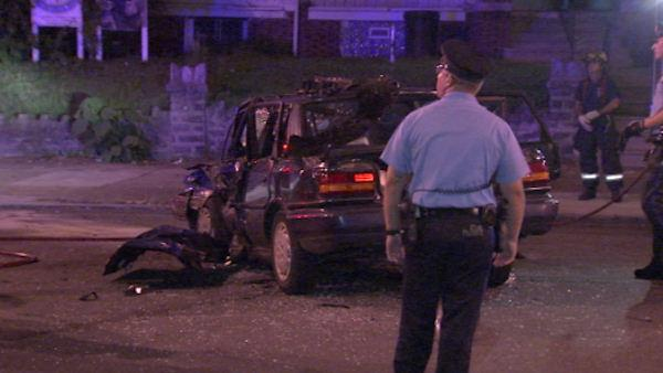 Accident with underage driver injures four on Philadelphia street.