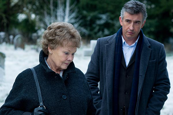 "BEST ACTRESS NOMINEE: This image released by The Weinstein Company shows Judi Dench, left, and Steve Coogan in a scene from ""Philomena."" Dench was nominated for an Academy Award for best actress on Thursday, Jan. 16, 2014. The 86th Academy Awards will be held on March 2. (AP Photo/The Weinstein Company, Alex Bailey)"
