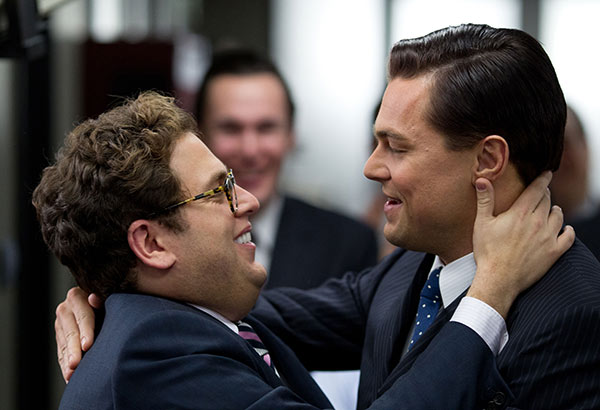 "BEST SUPPORTING ACTOR NOMINEE: This film image released by Paramount Pictures shows Jonah Hill, left, and Leonardo DiCaprio in a scene from ""The Wolf of Wall Street."" Hill was nominated for an Academy Award for best supporting actor on Thursday, Jan. 16, 2014. The 86th Academy Awards will be held on March 2. (AP Photo/Paramount Pictures and Red Granite Pictures, Mary Cybulski)"