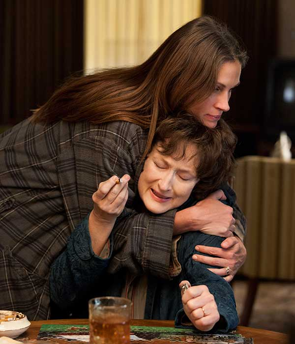"BEST SUPPORTING ACTRESS NOMINEE: This publicity image released by The Weinstein Company shows, from left, Julia Roberts and Meryl Streep in a scene from ""August: Osage County."" Roberts was nominated for an Academy Award for best supporting actress on Thursday, Jan. 16, 2014. The 86th Academy Awards will be held on March 2. (AP Photo/The Weinstein Company, Claire Folger)"