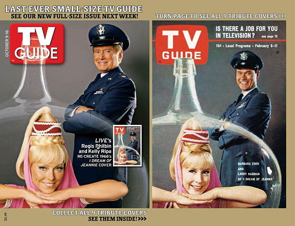 This photo from TV Guide shows Regis Philbin and Kelly Ripa, on a cover of TV Guide, left, which is on newsstands Oct.6. They portrayed the stars of the television sitcom I Dream of Jeannie for one of nine covers, the magazine is creating for the final issue before it goes to a larger format, featuring contemporary stars re-enacting some of its most memorable covers from the past half-century. The original cover of I Dream of Jeannie ran on Feb. 5, 1966&#39;s issue. <span class=meta>(Photo&#47;AP Photo)</span>