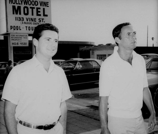 Joey Bishop, at right, is joined by Regis Philbin, his foil from the ABC-TV show as they stroll up Sunset Boulevard in Hollywood, Ca. on Sept. 8, 1967. Bishop and Philbin take the walk to relief tension before going to the Vine Street theater to do the late-night &#34;Joey Bishop&#34; show.  <span class=meta>(AP Photo)</span>