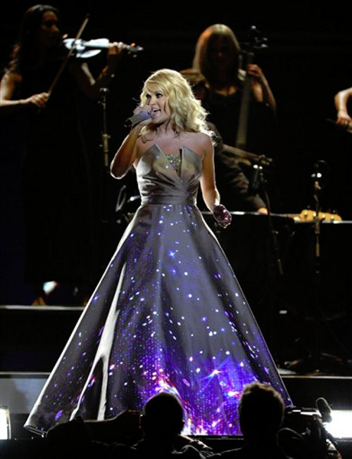 "<div class=""meta ""><span class=""caption-text "">Carrie Underwood performs on stage at the 55th annual Grammy Awards on Sunday, Feb. 10, 2013, in Los Angeles. (Photo by John Shearer/Invision/AP)</span></div>"