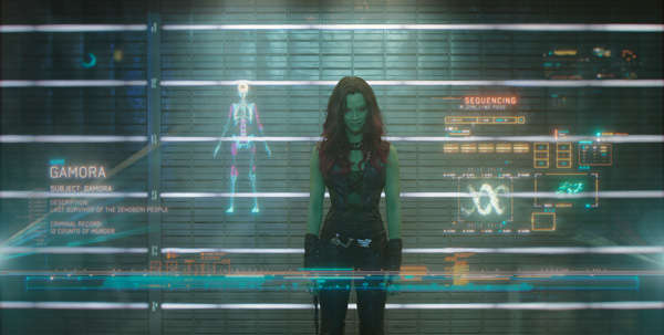 Zoe Saldana stars as Gamora in Marvel's Guardians of the Galaxy