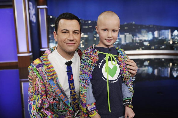 "<div class=""meta ""><span class=""caption-text "">All the hard work will benefit the MaxLove Project, a non-profit inspired by Max Wilford, 7, who's fighting brain cancer. Wilford appeared on the episode, with Kimmel giving him a loom cape. (ABC/Randy Holmes)</span></div>"