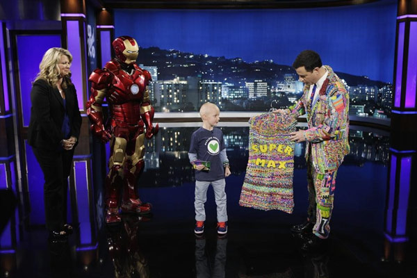 All the hard work will benefit the MaxLove Project, a non-profit inspired by Max Wilford, 7, who's fighting brain cancer. Wilford appeared on the episode, with Kimmel giving him a loom cape. (ABC/Randy Holmes)