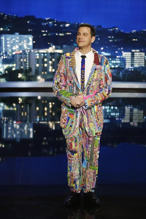 Jimmy Kimmel noticed that a lot of kids are really into Rainbow Loom, so he asked parents to have their children loom something for him. His plan was to weave all their creations together into a suit he'd wear on the show and this is the debut of his #SuitOfTheLoom. (ABC/Randy Holmes)
