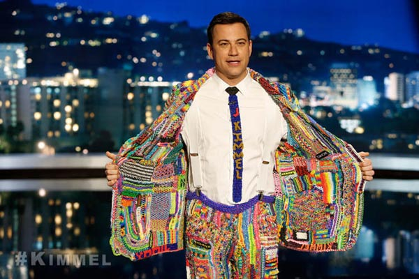 Jimmy Kimmel noticed that a lot of kids are really into Rainbow Loom, so he asked parents to have their children loom something for him. His plan was to weave all their creations together into a suit he'd wear on the show and this is the debut of his #SuitOfTheLoom. (ABC/ebay)