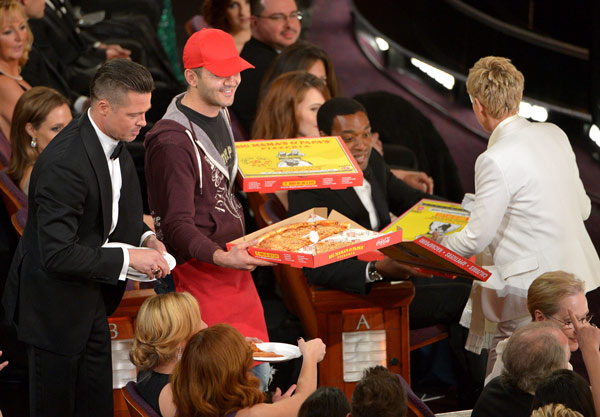 "<div class=""meta ""><span class=""caption-text "">Brad Pitt, left, and Ellen DeGeneres, right, pass out pizza in the audience during the Oscars at the Dolby Theatre on Sunday, March 2, 2014, in Los Angeles. (Photo by John Shearer/Invision/AP)  </span></div>"