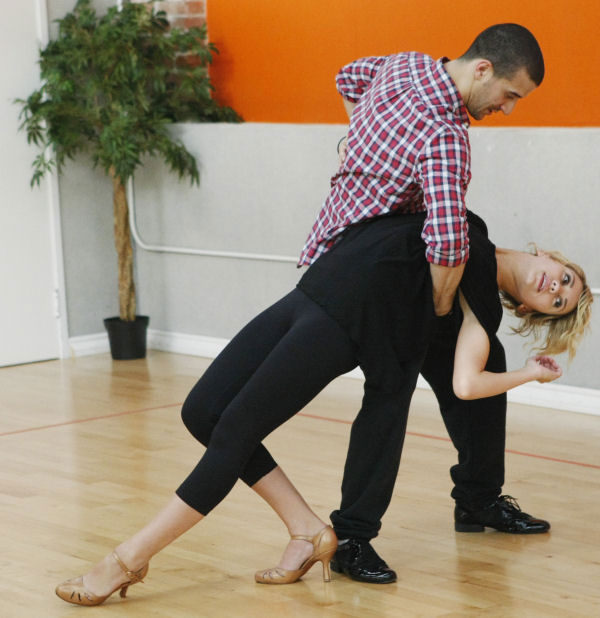 "<div class=""meta ""><span class=""caption-text "">Chelsea Kane and Mark Ballas rehearse for the premiere of Season 12 of ""Dancing with the Stars"" on Monday March 21, 2011. (Photo/ABC-TV)</span></div>"