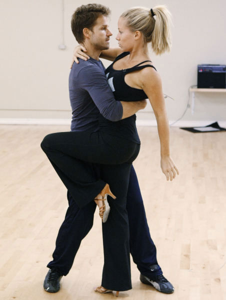 "<div class=""meta ""><span class=""caption-text "">Former Playboy Playmate Kendra Wilkinson practices her first dance with professional dancer Louis van Amstel for season 12 of ""Dancing with the Stars."" (Photo/ABC-TV)</span></div>"