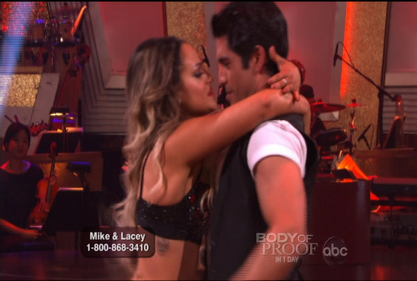 "<div class=""meta ""><span class=""caption-text "">Mike Catherwood & Lacey Schwimmer danced the Jive during Week 2 of Season 12 of Dancing with the Stars. They received a score of 17. </span></div>"