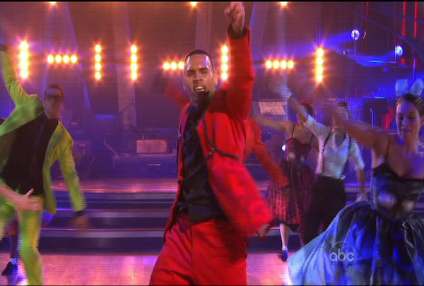 "Chris Brown performed on the ""Dancing With The Stars Result Show"" on March 29, 2011."