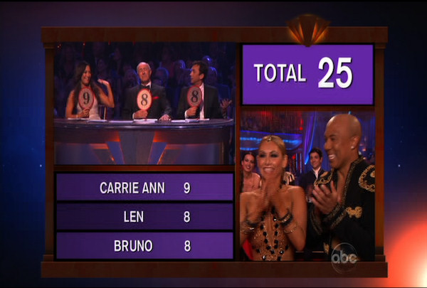 "<div class=""meta ""><span class=""caption-text "">Hines Ward & Kym Johnson danced the Paso Doble during Week 4 of Season 12 of Dancing with the Stars. They received a score of 25. </span></div>"