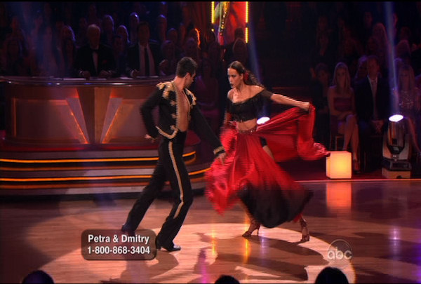 "<div class=""meta ""><span class=""caption-text "">Petra Nemcova & Dmitry Chaplin danced the Paso Doble during Week 4 of Season 12 of Dancing with the Stars. They received a score of 23. </span></div>"