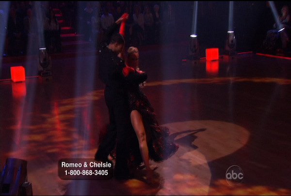 "<div class=""meta ""><span class=""caption-text "">Romeo Miller & Chelsie Hightower danced the Paso Doble during Week 4 of Season 12 of Dancing with the Stars. They received a score of 23.</span></div>"