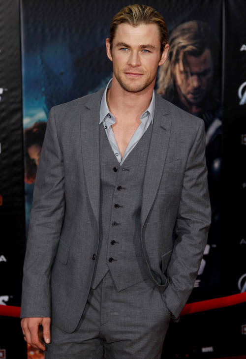 "<div class=""meta ""><span class=""caption-text "">Cast member Chris Hemsworth arrives at the premiere of ""The Avengers"" in Los Angeles, Wednesday, April 11, 2012. ""The Avengers"" will be released in theaters May 4, 2012. (AP Photo/Matt Sayles)</span></div>"