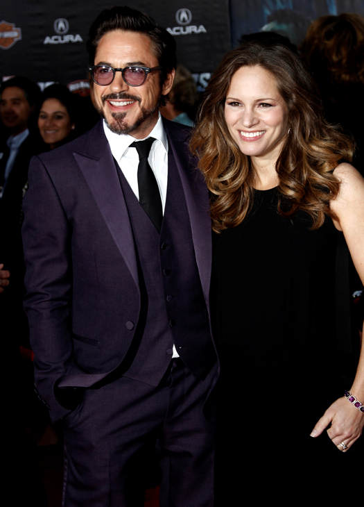 "<div class=""meta ""><span class=""caption-text "">Cast member Robert Downey Jr., left, and Susan Downey arrive at the premiere of ""The Avengers"" in Los Angeles, Wednesday, April 11, 2012. ""The Avengers"" will be released in theaters May 4, 2012.  (AP Photo/Matt Sayles)</span></div>"