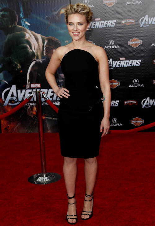 Cast member Scarlett Johansson arrives at the premiere of &#34;The Avengers&#34; in Los Angeles, Wednesday, April 11, 2012. &#34;The Avengers&#34; will be released in theaters May 4, 2012. <span class=meta>(AP Photo&#47;Matt Sayles)</span>