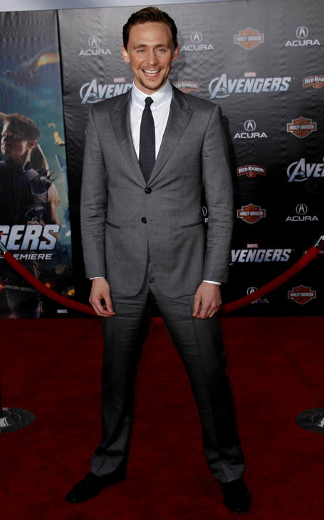 "<div class=""meta ""><span class=""caption-text "">Tom Hiddleston arrives at the premiere of ""The Avengers"" in Los Angeles, Wednesday, April 11, 2012. ""The Avengers"" will be released in theaters May 4, 2012. (AP Photo/Matt Sayles)</span></div>"