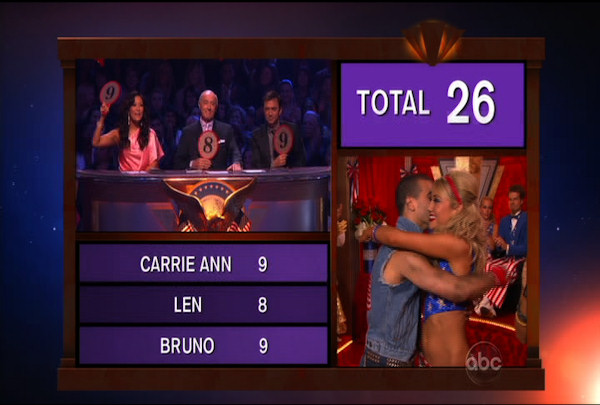 "<div class=""meta ""><span class=""caption-text "">Chelsea Kane & Mark Ballas danced the Foxtrot during Week 5 of the Dancing wih the Stars Season 12. They received a score of 26.</span></div>"