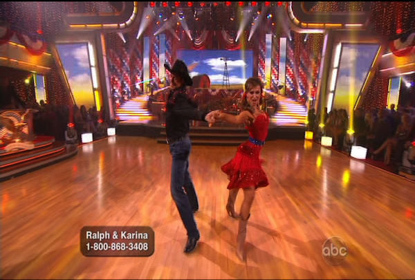 "<div class=""meta ""><span class=""caption-text "">Ralph Macchio & Karina Smirnoff danced the Samba during Week 5 of the Dancing wih the Stars Season 12. They received a score of 22.</span></div>"