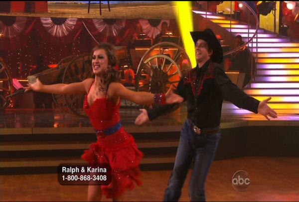 "<div class=""meta image-caption""><div class=""origin-logo origin-image ""><span></span></div><span class=""caption-text"">Ralph Macchio & Karina Smirnoff danced the Samba during Week 5 of the Dancing wih the Stars Season 12. They received a score of 22.</span></div>"