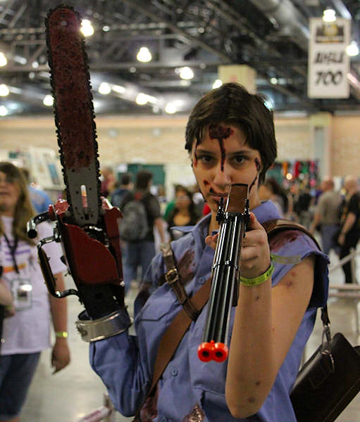 "A female version of ""Ash,"" Bruce Campbell's character from the ""Evil Dead"" films."