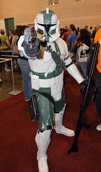 A clone trooper didn't appear too happy to have his photo taken.