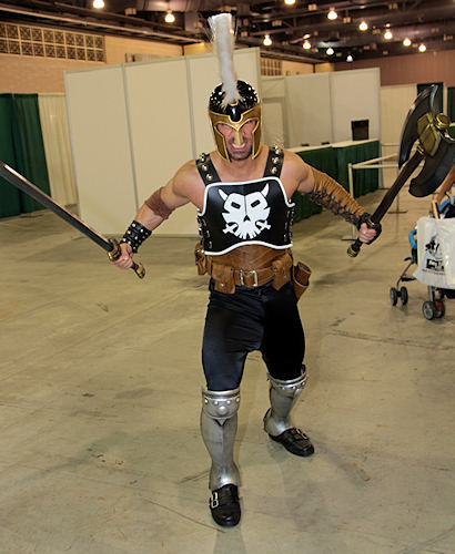 A gladiator is thrilled to be at Wizard World&#39;s Philadelphia Comic Con. <span class=meta>(www.darcidoranphotography.com)</span>