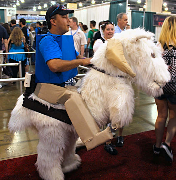 A Lego rebel soldier on a tauntaun was spotted galloping several times through the convention floor.