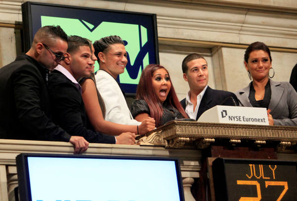 Cast members of MTV&#39;s &#34;Jersey Shore&#34; reality series participate in opening bell ceremonies of the New York Stock Exchange Tuesday, July 27, 2010. They are, from left: Michael &#34;The Situation&#34; Sorrentino; Ronnie Ortiz; Pauley &#34;DJ Pauly D&#34; Del Vecchio; Nicole &#34;Snooki&#34; Polizzi; Vinny Guadagnino; Jenni &#34;J-Woww&#34; Farley. <span class=meta>(AP Photo&#47;Richard Drew)</span>
