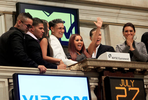 "<div class=""meta image-caption""><div class=""origin-logo origin-image ""><span></span></div><span class=""caption-text"">Cast members of MTV's ""Jersey Shore"" reality series participate in opening bell ceremonies of the New York Stock Exchange Tuesday, July 27, 2010. They are, from left: Michael ""The Situation"" Sorrentino; Ronnie Ortiz; Sammi Giancola; Pauley ""DJ Pauly D"" Del Vecchio; Nicole ""Snooki"" Polizzi; Vinny Guadagnino; Jenni ""J-Woww"" Farley.  (AP Photo/Richard Drew)</span></div>"