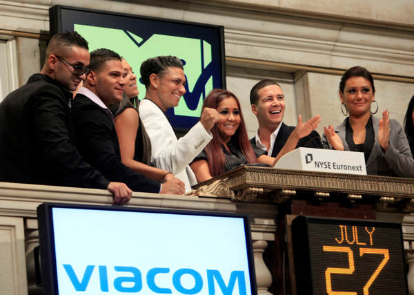 Cast members of MTV&#39;s &#34;Jersey Shore&#34; reality series participate in opening bell ceremonies of the New York Stock Exchange Tuesday, July 27, 2010. They are, from left: Michael &#34;The Situation&#34; Sorrentino; Ronnie Ortiz; Sammi Giancola; Pauley &#34;DJ Pauly D&#34; Del Vecchio; Nicole &#34;Snooki&#34; Polizzi; Vinny Guadagnino; Jenni &#34;J-Woww&#34; Farley.  <span class=meta>(AP Photo&#47;Richard Drew)</span>