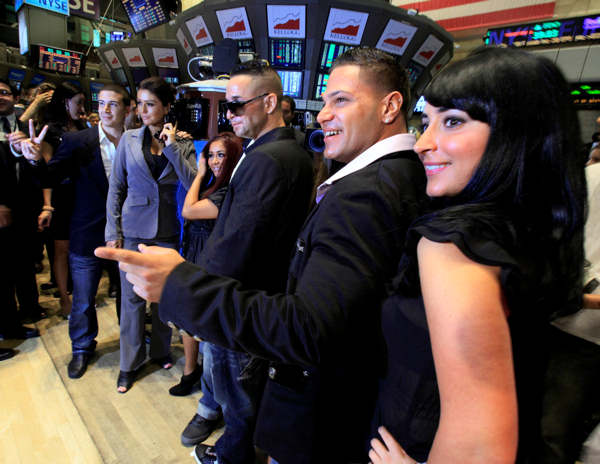 "<div class=""meta ""><span class=""caption-text "">Cast members of MTV's ""Jersey Shore"" reality series pose for photos after ringing the opening bell of the New York Stock Exchange Tuesday, July 27, 2010. They are, from left: Vinny Guadagnino; Jenni ""J-Woww"" Farley; Nicole ""Snooki"" Polizzi; Michael ""The Situation"" Sorrentino; Ronnie Ortiz; Angelina ""Jolie"" Pivarnick.  (AP Photo/Richard Drew)</span></div>"