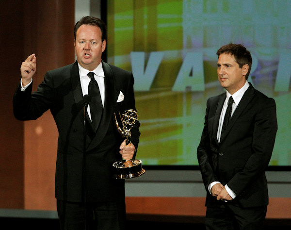 "Dave Boone and Paul Greenberg accept the award for outstanding writing for a variety, music, or comedy special for the ""63rd Annual Tony Awards"" during the 62nd Primetime Emmy Awards Sunday, Aug. 29, 2010, in Los Angeles. (AP Photo/Chris Carlson)"
