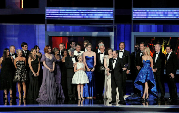 "Producer Matthew Weiner, center right, accepts the award for outstanding drama series for ""Mad Men"" during the 62nd Primetime Emmy Awards Sunday, Aug. 29, 2010, in Los Angeles. (AP Photo/Chris Carlson)"