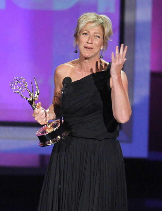 Edie Falco accepts the award for outstanding lead actress in a comedy series during the 62nd Primetime Emmy Awards Sunday, Aug. 29, 2010, in Los Angeles. (AP Photo/Chris Carlson)