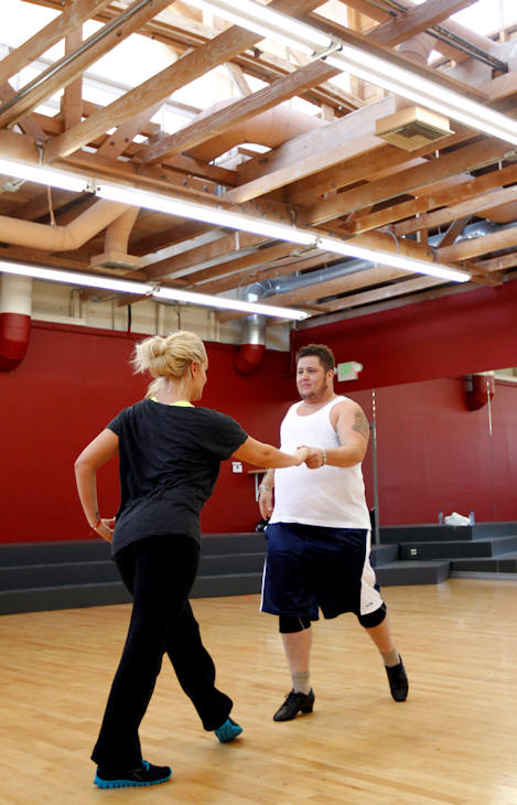 "<div class=""meta image-caption""><div class=""origin-logo origin-image ""><span></span></div><span class=""caption-text"">Chaz Bono and Lacey Schwimmer rehearse for the upcoming season of ""Dancing of the Stars"" in Los Angeles, Wednesday, Sept. 7, 2011. The new season of ""Dancing with the Stars"" premieres Sept. 19 on ABC. (AP Photo/Matt Sayles)</span></div>"