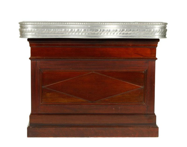 "French Art Deco Style bar, mahogany and cast aluminum, stamped, 42 1/2"" h x 53"" w x 24"" d. Property of Oprah Winfrey. EST: $4,000 - $6,000 More Information: http://www.kaminskiauctions.com/the-oprah-winfrey-collection/"