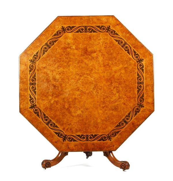 19th Century English tilt top breakfast table, in burlwood veneer, with satin wood and ebony inlaid border. Property of Oprah Winfrey. EST: $4,000 - $6,000 More Information: http://www.kaminskiauctions.com/the-oprah-winfrey-collection/