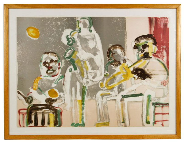 "Romare Howard Beardon (1911-1998, American), limited edition artist proof, 20/30, signed and dated middle left, 24 1/2"" h x 34 1/2"" w (view), 30 1/4"" h x 40"" w (frame). Property of Oprah Winfrey. EST: $2,500 - $3,500 More Information: http://www.kaminskiauctions.com/the-oprah-winfrey-collection/"