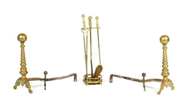 "Antique fire accessories, to include two andirons and a set of fire tools, andiron, 20"" h x 21"" w, tools 25"" h. Property of Oprah Winfrey. EST: $200 - $300 More Information: http://www.kaminskiauctions.com/the-oprah-winfrey-collection/"