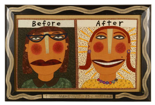 "Chris Roberts-Antieau, ""The Make Over,"" framed quilt, dated 2000 and signed on reverse, 20"" h x 29"" w including coordinating hand made frame. Property of Oprah Winfrey. EST: $100 - $200 More Information: http://www.kaminskiauctions.com/the-oprah-winfrey-collection/"